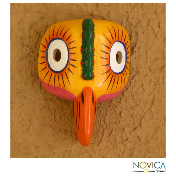 Handcrafted Pinewood 'Dancing Rooster' Mask  , Handmade in Guatemala