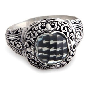 Sterling Silver 'Heart of Nature' Prasiolite Ring (Indonesia)