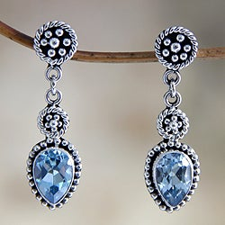 Sterling Silver 'Balinese Jackfruit' Blue Topaz Earrings (Indonesia)