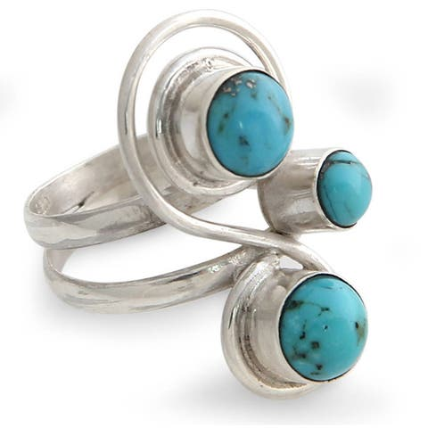 Handmade Sterling Silver Ocean Melody Recon Turquoise Ring (Indonesia)