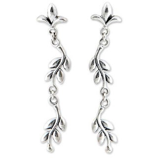 Handmade Sterling Silver 'A New Leaf' Earrings (Indonesia)
