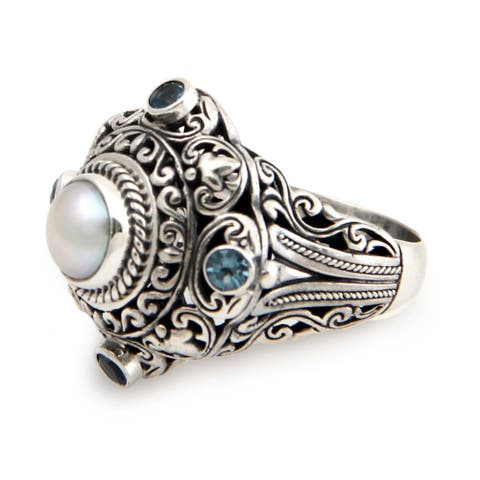 Handmade Sterling Silver 'Mahameru' Pearl and Topaz Ring (8 mm) (Indonesia) - White