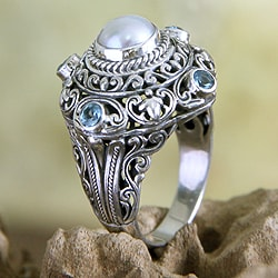 Sterling Silver 'Mahameru' Pearl and Topaz Ring (8 mm) (Indonesia)