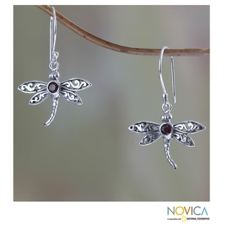 Handmade Sterling Silver 'Enchanted Dragonfly' Garnet Earrings (Indonesia)