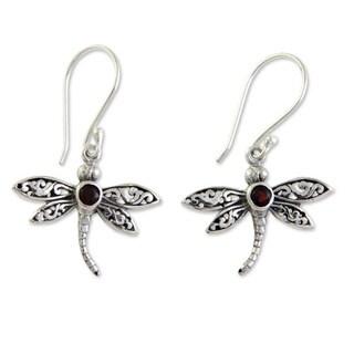 Handmade Sterling Silver 'Enchanted Dragonfly' Garnet Earrings (Indonesia)