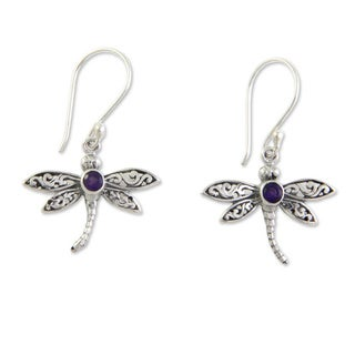Handmade Enchanted Dragonfly Purple Amethyst Round Gems Set in 925 Sterling Silver Womens Dangle Earrings (Indonesia)