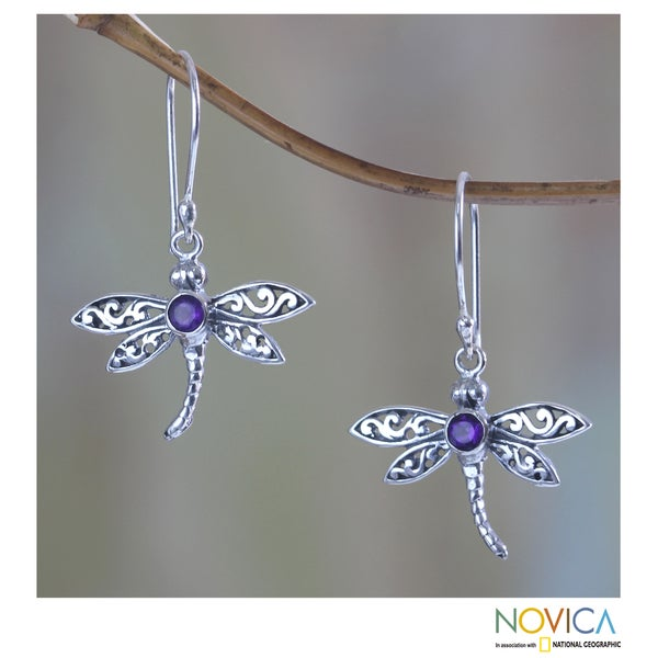 Handmade Enchanted Dragonfly Purple Amethyst Round Gems Set in 925 Sterling Silver Womens Dangle Earrings (In