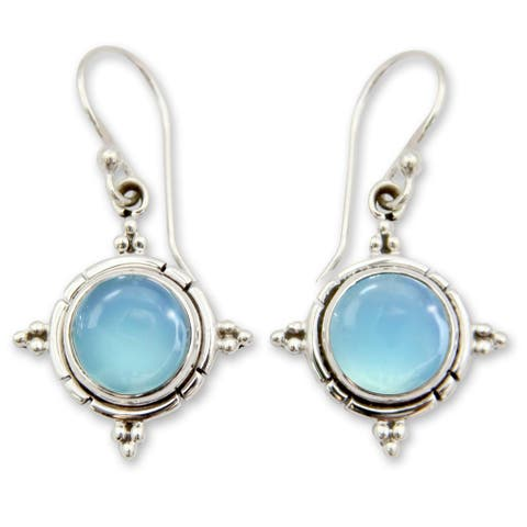 Handmade Sterling Silver 'Endless Sky' Chalcedony Earrings (India)