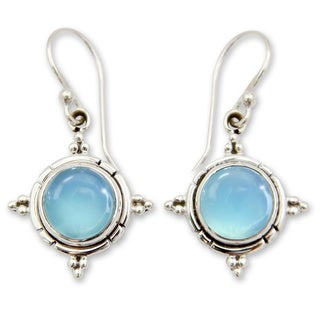 Link to Handmade Sterling Silver 'Endless Sky' Chalcedony Earrings (India) Similar Items in Earrings