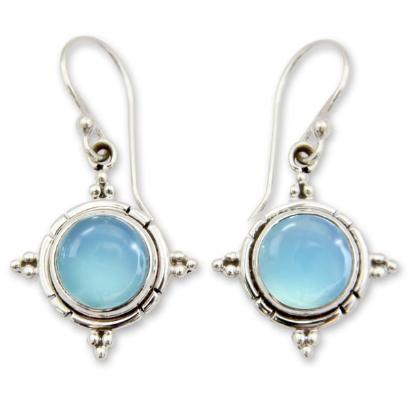 Handmade Sterling Silver 'Endless Sky' Chalcedony Earrings (India). Opens flyout.