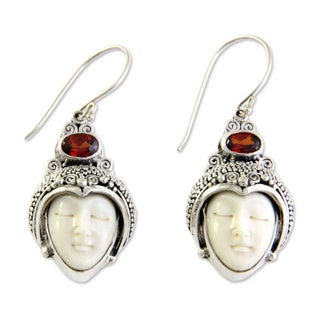 Sterling Silver 'Royal Romance' Bone and Garnet Earrings (Indonesia)