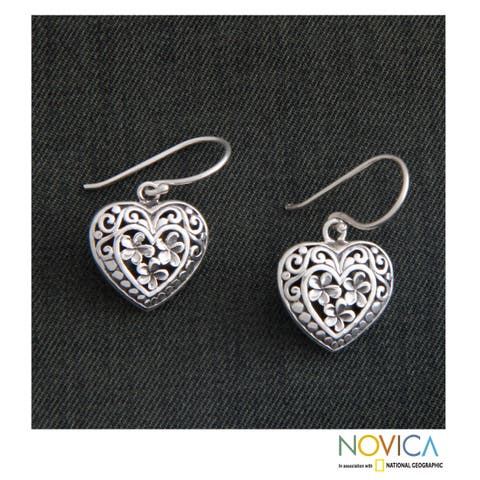 Handmade Sterling Silver 'Loyal Hearts' Earrings (Indonesia)
