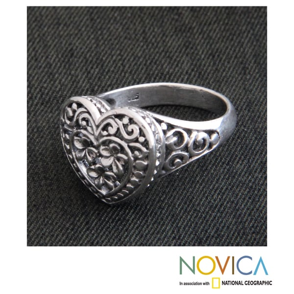 Handmade Sterling Silver 'Loyal Heart' Ring (Indonesia)