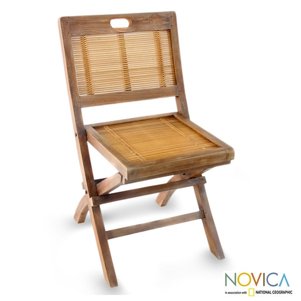 Teakwood and Bamboo Vintage Ambarawa Folding Chair Indonesia Fr