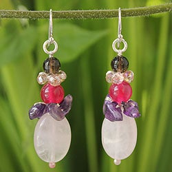 Sterling Silver 'Sweet Love' Multi-gemstone Earrings (Thailand)