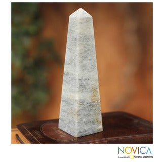 Onyx 'Protection Obelisk' Sculpture  , Handmade in Peru