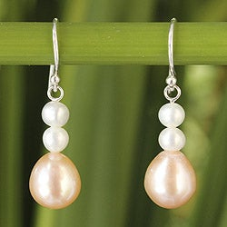 Sterling Silver 'Peaches' Cultured Pearl Earrings (4-8 mm) (Thailand)