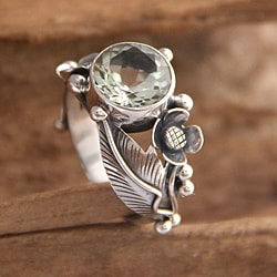 Handmade Sterling Silver 'Sunflowers' Prasiolite Ring (Indonesia)