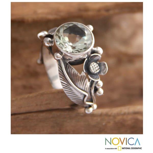 Handmade Sterling Silver 'Sunflowers' Prasiolite Ring (Indonesia)