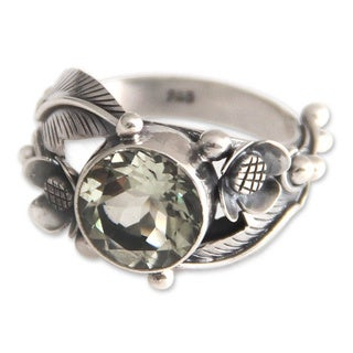 Handmade Sterling Silver 'Sunflowers' Prasiolite Ring (Indonesia) (3 options available)