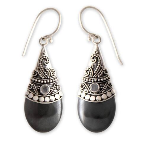 Handmade Black Hematite Moonstone Gemstone Earrings (Indonesia)