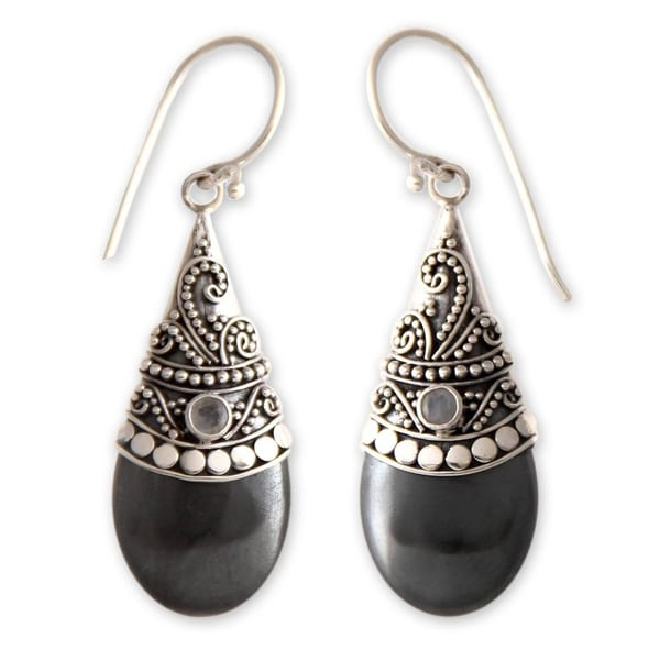 Handmade Black Hematite Moonstone Gemstone Earrings (Indonesia)