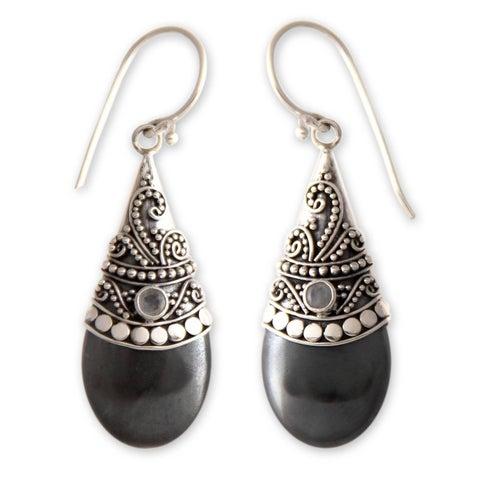 Handmade Mystique Women's Fashion Accessory Sterling Silver Black Hematite White Moonstone Gemstone Jewelry Earrings (Indonesia)