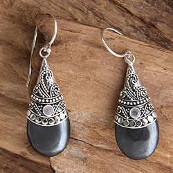 Mystique Handmade Women's Fashion Accessory Sterling Silver Black Hematite White Moonstone Gemstone Jewelry Earrings (Indonesia)