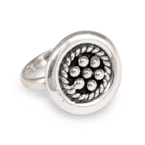 Handmade Sterling Silver 'Andean Dewdrops' Ring (Peru)