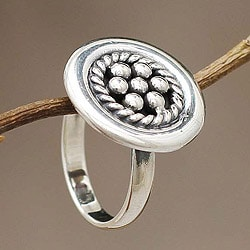 Handmade Sterling Silver 'Andean Dewdrops' Ring (Peru)