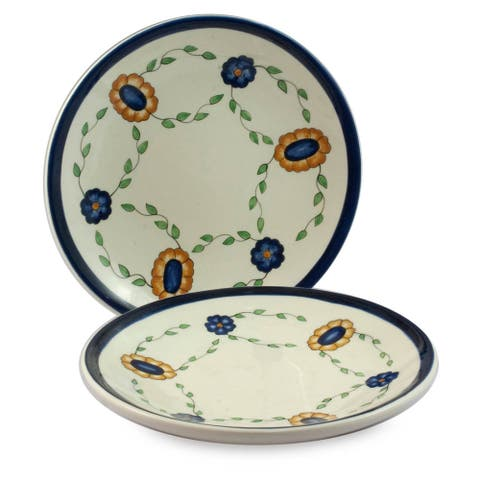 Handmade Set of 2 Ceramic 'Margarita' Dinner Plates (Guatemala)