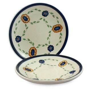 Handmade Set of 2 Ceramic 'Margarita' Dinner Plates (Guatemala)