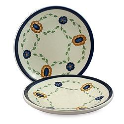 Set of 2 Handmade Ceramic 'Margarita' Dinner Plates (Guatemala)