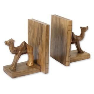 Set of 2 Handmade Ofram Wood 'Happy Camels' Bookends (Ghana)