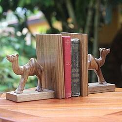 Set of 2 Handcrafted Ofram Wood 'Happy Camels' Bookends (Ghana)