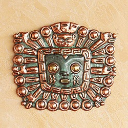 Handmade Copper and Bronze 'Great Inti' Inca Mask (Peru)