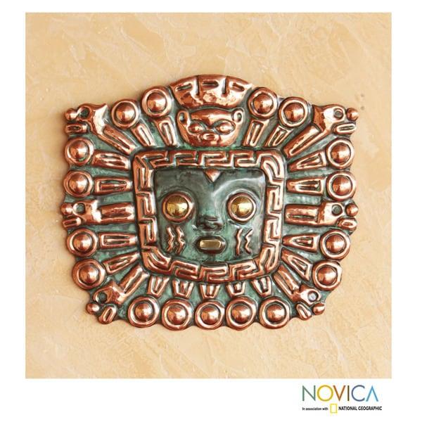 Copper and Bronze 'Great Inti' Inca Mask (Peru)