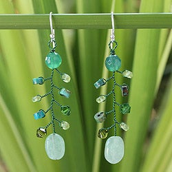 Handmade Multi-gemstone 'Thai Forest' Earrings (Thailand)