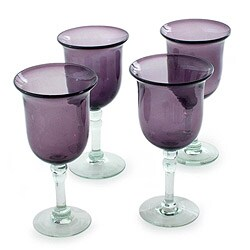 Set of 4 Handmade Blown Glass 'Amethyst Tulip' Goblets (Mexico)