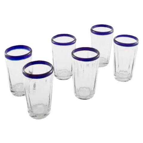 Handmade Set of 6 Blown Glass 'Cobalt Groove' Tumblers (Mexico)