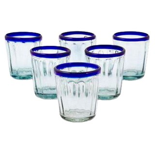 Handmade Cobalt Groove Clear Blue Rim Set of 6 Juice or Drinking Glasses (Mexico)