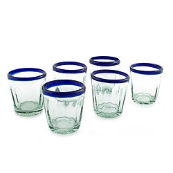 Cobalt Groove Clear Blue Rim Set of Six Barware or Everyday Tableware Hostess Gift Handblown Juice or Drinking Glasses (Mexico)