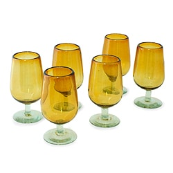 Set of 6 Handcrafted Blown Glass 'Mexican Amber' Goblets (Mexico)