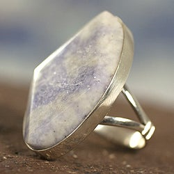 Maya Mystic Round Faceted Lilac Jade Gemstone set in 925 Sterling Silver Elegant Contemporary Womens Cocktail Ring (Guatemala)