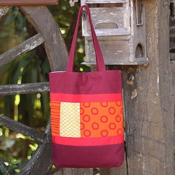 Cotton Batik 'Geometry Is Hot' Medium Shoulder Bag (Thailand)
