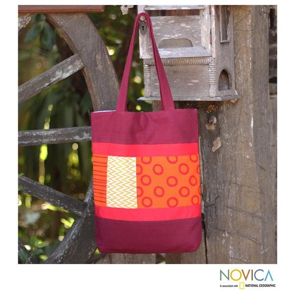 Cotton Batik 'Geometry Is Hot' Medium Shoulder Bag (Thailand)