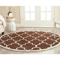 Safavieh Handmade Moroccan Cambridge Dark Brown Wool Rug - 6' x 6' Round