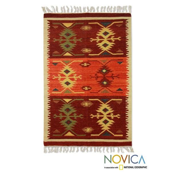 Hand-woven Wool 'Tribal Glory' Maroon Orange Beige Rug (3x5) (India)