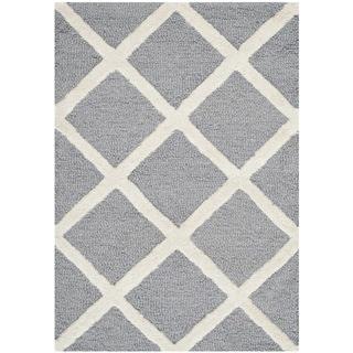 Safavieh Diamond-Patterned Handmade Cambridge Moroccan Silver Wool Rug (2' x 3')
