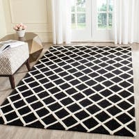 Contemporary Safavieh Handmade Cambridge Moroccan Black and Ivory Wool Rug - 8' x 10'